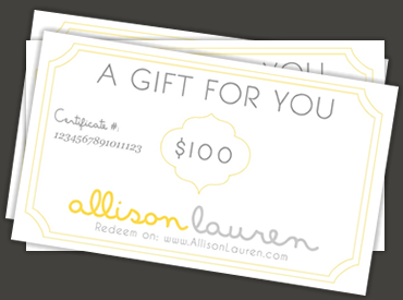 Allison Lauren Gift Certificates