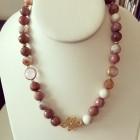Brianna Beaded Boho Earth Tone Necklace with Crystals