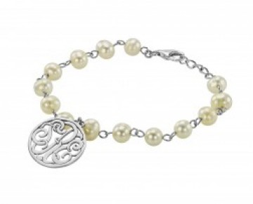 Sasha Sterling Beaded Pearl Monogram Bracelet