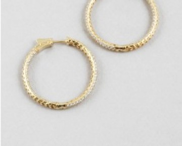 Sasha Sterling Pave Large Hoops Gold
