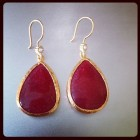 Sasha Sterling Drop Earring Red with Diamond