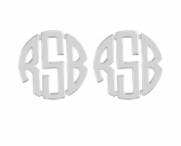 Sasha Sterling Geometric Monogram Stud