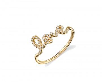 Sasha Sterling Pave Love Ring Gold