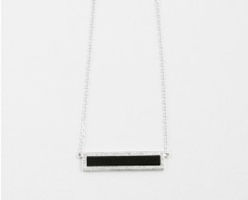 Sasha Sterling Black Pave Enamel Bar Necklace