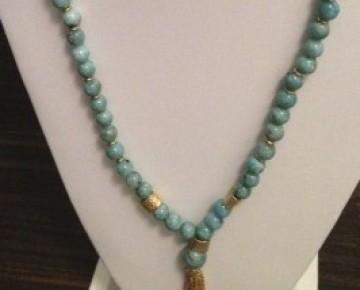 Brianna Beaded Boho Tassel Necklace Turquoise