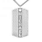 Monogram Mens Dog Tag Necklace Sterling