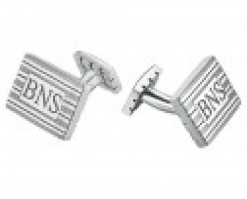 Monogram Mens Cuff links Rectangle Sterling