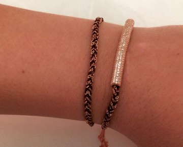 Sasha Sterling Pave Bar Tie Bracelet Rose Gold
