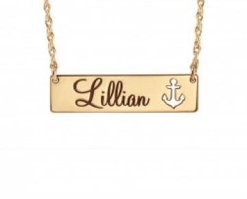 Sasha Sterling Name and Anchor Bar Necklace