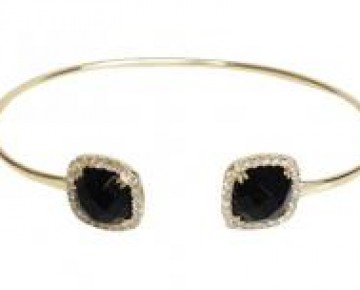 Sasha Sterling Black Onyx Bangle Gold