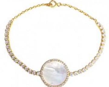 Sasha Sterling Pearlized Disc Bracelet Gold