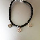 Sasha Sterling Beaded Charm Bracelet Tie Black