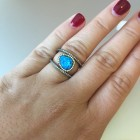 Sasha Sterling Blue Opal Outline Ring
