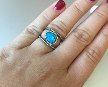 Sasha Sterling Blue Opal Outline Ring