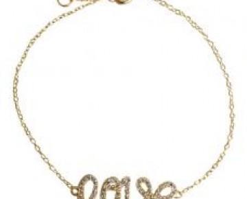 Sasha Sterling Love Bracelet Script Gold