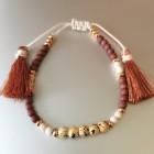 Abby Beaded Boho Tassel Bracelet Brown
