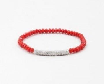 Sasha Sterling Pave Bar Bracelet Red