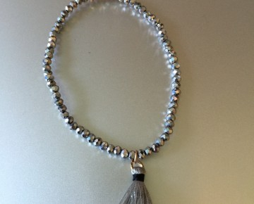 Abby Beaded Tassel Bracelet Silver