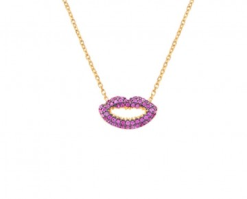 Sasha Sterling Pink Pave Lips Necklace
