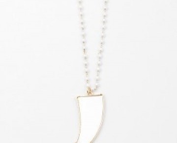 Bri Beaded White Pearlized Horn Necklace