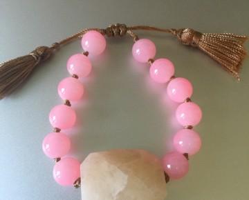 Abby Beaded Boho Stone Bracelet Pink