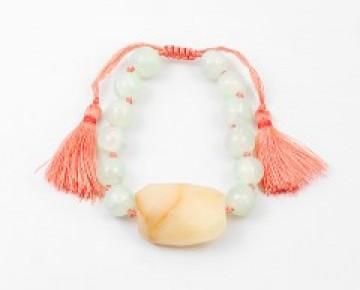 Abby Beaded Boho Stone Bracelet Coral