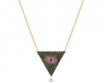 Sasha Sterling Pave Black and Pink Evil Eye
