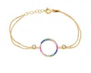 Sasha Sterling Pave Colored Stone Circle Bracelet