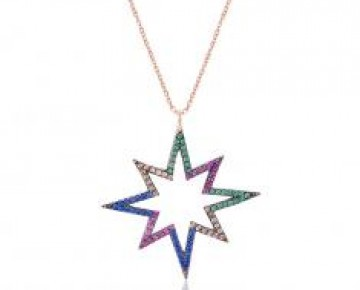 Sasha Sterling Pave Colored Stone Starburst Rose Gold