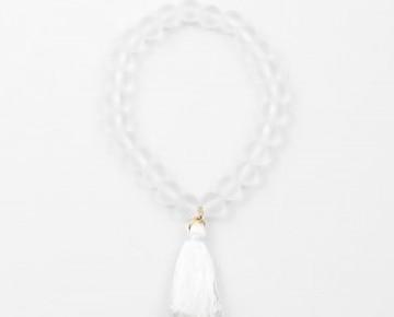 Abby Beaded Boho Clear Tassel Bracelet