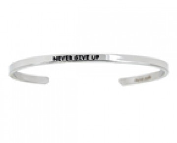 Abby Quotation Cuff NEVER GIVE UP