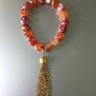 Abby Beaded Boho Chain Tassel Bracelet Red Orange