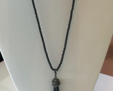 Holly Hematite Long Tassel Necklace