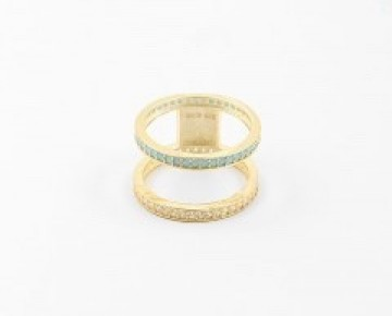 Sasha Sterling Double Band Gold and Turquoise