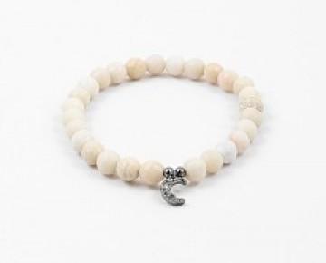 Abby Beaded Boho Charm Bracelet Cream Moon