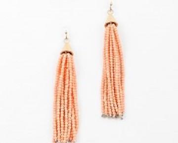 Abby Beaded Tassel Earrings Coral
