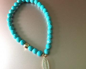 Abby Beaded Boho Charm Bracelet Turquoise Feather