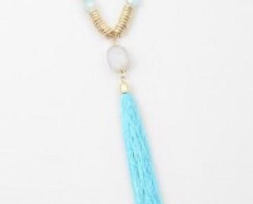 Bri Beaded Boho Druzi Turquoise Necklace