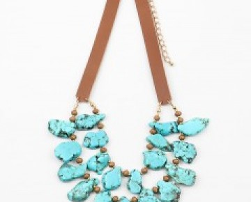 Samantha Statement Sliced Stone Double Row Turquoise