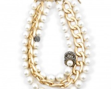 Samantha Statement Pearl and Chainlink Necklace
