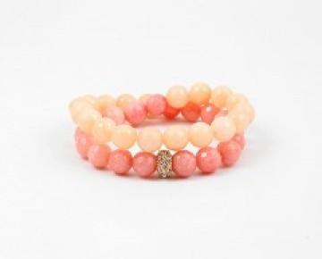 Abby Beaded Boho Bracelet Wrap Ombre Coral