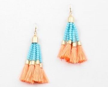 Abby Beaded and Thread Tassel Earrings Turq