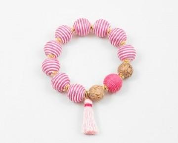 Abby Beaded Oversized Balls Boho Pink Stripe