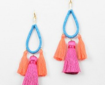 Abby Tassel Earring Turquoise and Coral