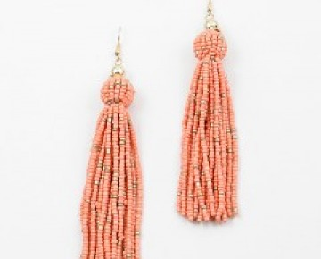 Abby Beaded Ball and Tassel Earrings Coral