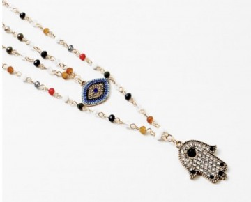 Bri Beaded Chamsa and Evil Eye Layered Necklace