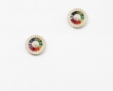 Sasha Sterling Disc Stud Rainbow Gold