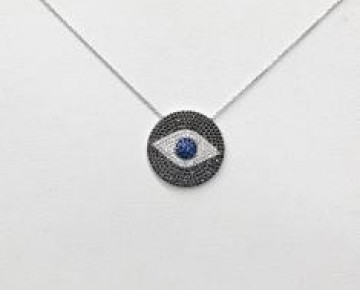 Sasha Sterling Black Pave Evil Eye Silver