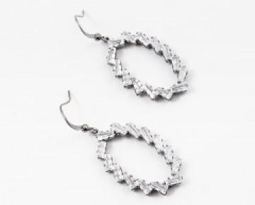 Sasha Sterling Oval Baguette Earring