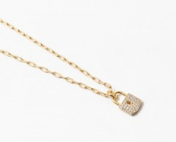 Gold Pave Locket Necklace Mini